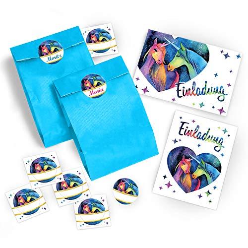 12 Einladungskarten zum Kindergeburtstag für Mädchen Einhorn / Unicorn / zwei Einhörner / Einladungen / schöne und bunte Geburtstagseinladungen incl. 12 Umschläge, 12 Party-Tüten / blau, 12 Aufkleber