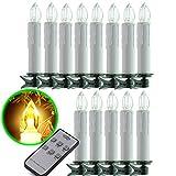 SunJas 20 Set Warmweiss LED kerzen Lichterkette Weihnachtskerzen Kabellos Funk Fernbedienung Christbaumsdeko Weihnachten christmas Party (C:Weiss)