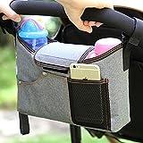 Kobwa universale passeggino organizer borsa con supporto per telefono, borsa per pannolini portabicchieri organizzatore cibo portaoggetti da appendere, sacchetto impermeabile appeso pallet borsa per accessori da bambini