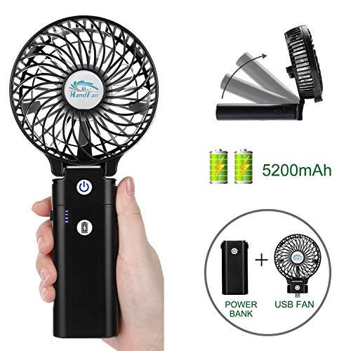 SOECE Handventilator Tragbarer Lüfter Elektrischer USB Ventilator,5200mAh Aufladbarem Batterie mit Powerbank-Funktion,Faltbar Kompatibel mit Laptop Multi Port Steckdose für Reisen und Zuhause-Schwarz