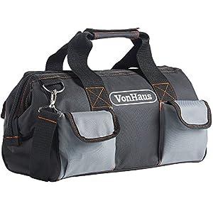 VonHaus – Bolsa de herramientas grande con correas y correa para hombro, bolsillos internos y externos 39 x 20 x 26 cm