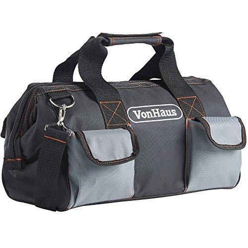 VonHaus Sac Porte Outils Très Résistant avec Poches Extérieures et Intérieures + Sangle d'Épaule - Capacité 10 kg - 39 x 20 x 26 cm Gris/Noir