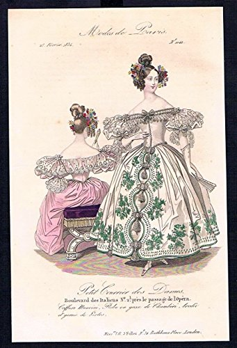 Grafik Biedermeier Mode Kupferstich victorian fashion antique print Paris etching