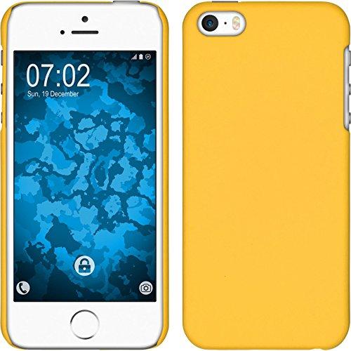 PhoneNatic Case kompatibel mit Apple iPhone 5 / 5s / SE - Hülle gelb gummiert Hard-case + 2 Schutzfolien Gelb Hard Case