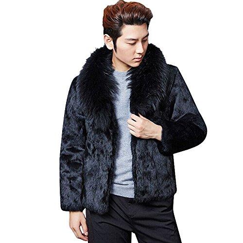 Camicia lino uomo coreana beikoard moda uomo caldo collo di pelliccia di spessore giacca giacca in pelliccia sintetica parka cardigan outwear(as show,s)