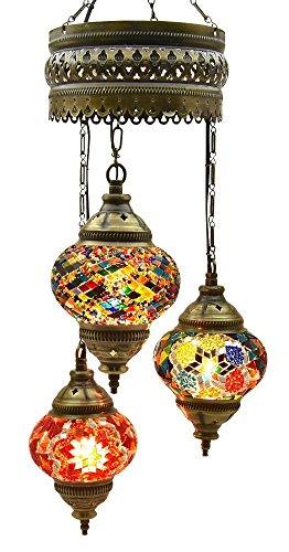 "7 Globes Chandelier Lamp Ceiling Hanging Handmade Turkish Mosaic Glass Art Moroccan Lantern Light with Bulbs, 25.5"" (65 cm) Height - 4.7"" (12 cm) Diameter, Pendant Arabian Tiffany Shade (Life)"