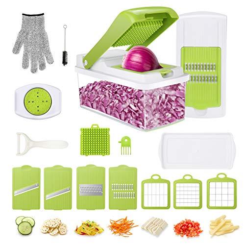 Gifort Gemüseschneider, Obstschneider Kartoffelschneider Zwiebel Zerkleiner Gemüsehobel Multischneider mit 7 austauschbare Klingen für Karotten, Kartoffeln, Tomaten, Paprika -