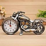 LTOOD Stummschalten Sie kein Nachtlicht kleinen Wecker kreative Persönlichkeit Uhr Kinder einfache Student Nachttischuhren Alarm großen Sound, Motorrad Wujin zweifarbig