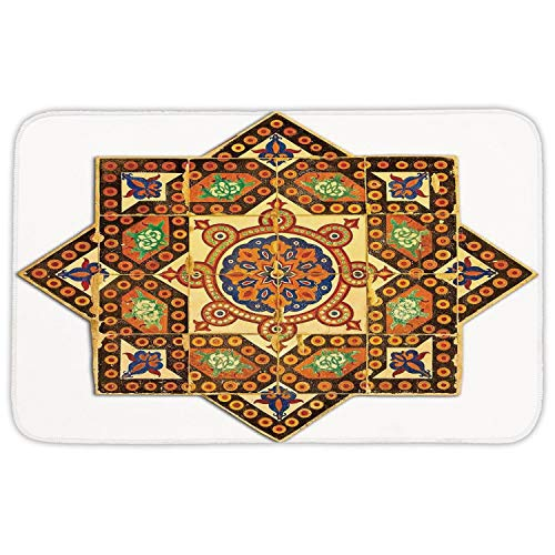 Mat Rug,Arabian Decor,Vintage Floral Geometrical Pattern with Turkish Ottoman Calligraphic Art Style Old Boho Print,Multi,Home Decor Mat with Non Slip Backing,31.5 X 19.68 Inch ()