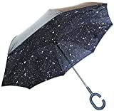 #10: My Party Suppliers Latest Star Print Reverse Umbrella, UV-Proof with C Shape Handle Upside Down Umbrella