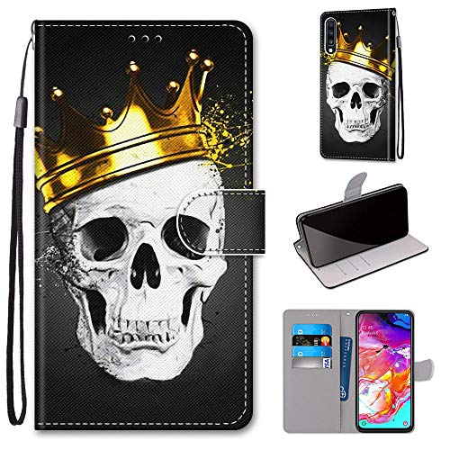 Miagon Flip PU Leder Schutzhülle für Samsung Galaxy A70,Bunt Muster Hülle Brieftasche Case Cover Ständer mit Kartenfächer Trageschlaufe,Schädel Krone