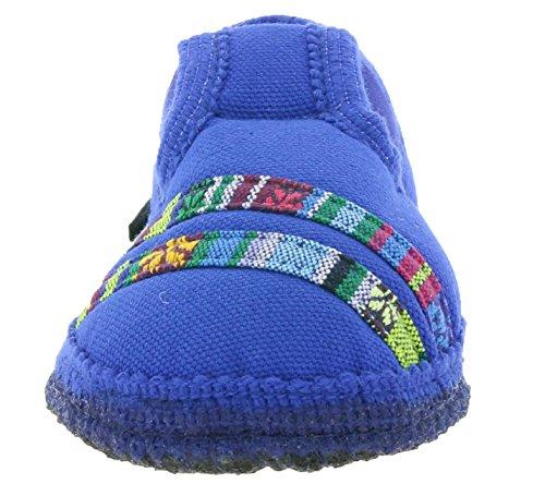 HAFLINGER Slipper Streifchen Schuhe Kinder Hausschuhe Pantoletten Blau 629165 0 74 Blau
