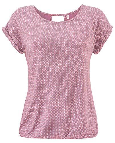 ELFIN Damen T-Shirt Kurzarm Blusen Shirt mit Allover-Minimal Print Lose Stretch Basic Tee, Rosa, XL -