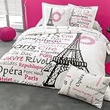 Spannbettlaken French Paris, rosa, 90 x 190 cm