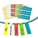 ZoomSky 750er Selbstklebend Kabeletikett 25 Blätter Kabelaufkleber Kabelkennzeichnung sortiert in 5 Farben Wasserdicht Reißfest Haltbar bedruckbar für Laserdrucker
