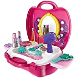 Smartcraft Girls Bring Along Beauty Suitcase Makeup Vanity Toy Set - 21 Pieces