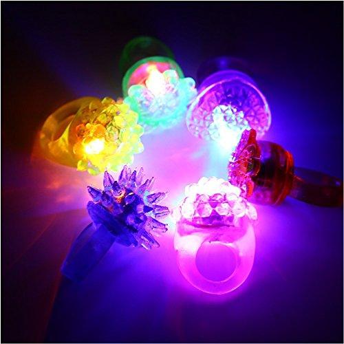 Acefun 24 Stück LED Blinkende Jelly Ringe, Leuchtendes Spielzeug, Finger Ringe mit verschiedenfarbigem Licht, Party Mitgebsel (Led Finger Licht)
