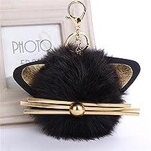 artistic9(TM) diseño de orejas de gato llavero colgante de las mujeres Clave Anillo soporte coche mochila pompón clave cadenas, negro, 12x12cm