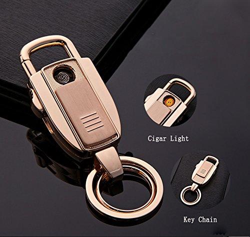 Zigarettenanzünder WACOM 2-1n-1 Schlüsselanhänger + aufladbare elektronische Feuerzeug (Gold)