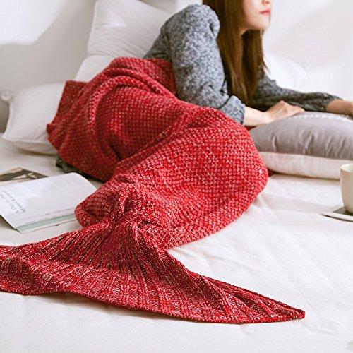Mermaid Schwanz Decke handgefertigt Weich Schlafsack Häkeln Stricken Wohnzimmer Decke Alle Jahreszeiten beste Mode Geburtstag Weihnachten Geschenk Sofa Snuggle Teppich 190x90cm (braun)