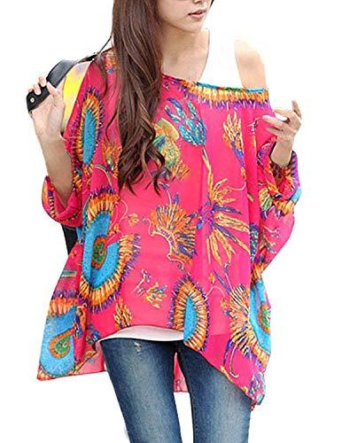 Sitengle Damen Sommer Böhmische Flügel Ärmel Chiffon Kurzarm Strand Beiläufige Shirt Bat Sleeve Lose Hemd T shirt Bluse Tops Rot One Size