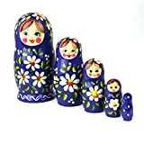 Heka Naturals Russian Nesting Dolls, 5 Traditional Matryoshka Polyanka Style | Babushka Wooden Dolls, Blue with White Flower Design, Hand Made in Russia | Polyanka 5 piece, 12 cm (4.7 inches)