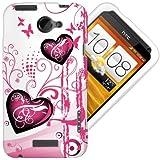 Etui de créateur pour HTC One X - Etui / Coque / Housse de protection blanc en TPU/gel/silicone avec motif coeur roses