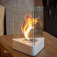 Ausführung Tischkamin TORINO, Bio-Ethanol Kamin, inkl. Edelstahlbrenner und Zubehör Der Sockel besteht aus Stahl mit einer pulverbeschichteten Lackierung in weiß. Eingefaßt wird die Feuerstelle mit drei hitzebeständigen Scheiben aus Sicherheitsglas, ...