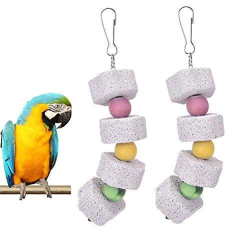 bravewind Parrot Bird Kauen Spielzeug Schleifstein Mineralien Stein Sticks Molar Spielzeug Parrot Zähne Care Clean Werkzeug mit bunten Perlen (Spielzeug Stick-vogel)