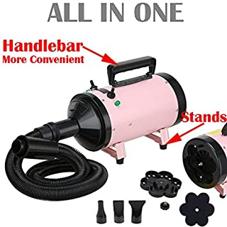 AutoFu 500W-2800W Pink Blaster Hairdryer Stand Car/Dog / Cat Pet Grooming Hair Dryer - Low Noise 2 Wind Speed Blower Heater Pet Bathing Accessories