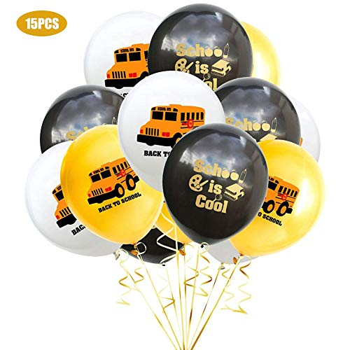 Rich-home 15 Stücke zurück zu Schulparty Dekoration Ballon Gold Luftballon Stellten Konfetti Ballon Latex Ballone, 12 Zoll EIN - Rich Pumpe