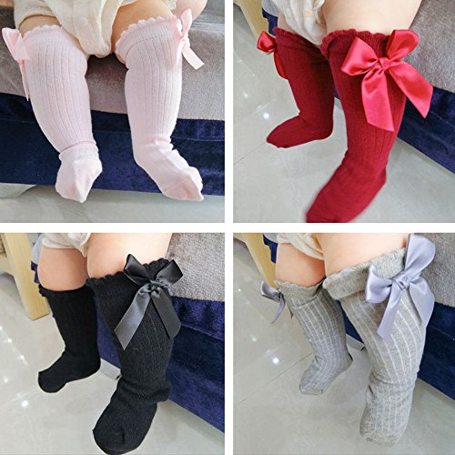 Kolylong Baby Kids Girls Princess Bowknot Socks ✿ Big Bow Knee High Long Soft Cotton Lace Baby Socks
