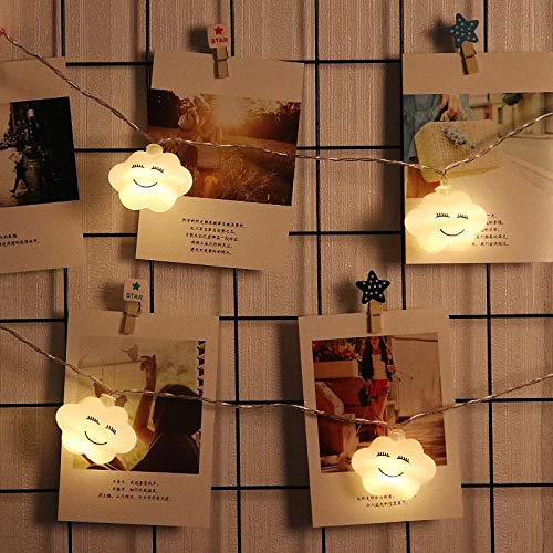 Industrie Wandleuchte Pendelleuchten Led Smiley Wolke Kleine Lichter Blinkende Lichter Lichter Raumaufteilung Dekoration Schlafzimmer Mädchen Herz, 3 Meter 20 Lichter Batterie Smiley-Wolken -
