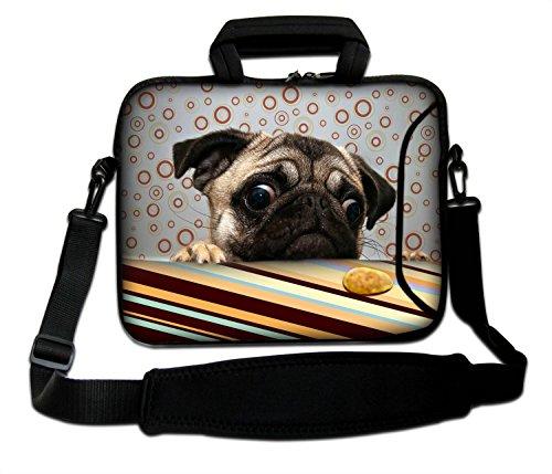 LUXBURG® 17,3 Zoll Schultertasche Notebooktasche Laptoptasche Tasche mit Tragegurt aus Neopren für Laptop / Notebook Computer - Mops & Plätzchen
