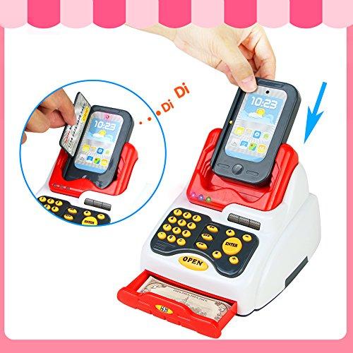 Conjunto de Juguete de Caja Registradora Juguete con Escáner  Dinero de Juguete  Sonido y Luz  18pcs Accesorios de Juego de Rol Supermercado de Juguetes  Simulación Juego de Imaginación Juguetes Educativos para Niños de 3 4 5 Años