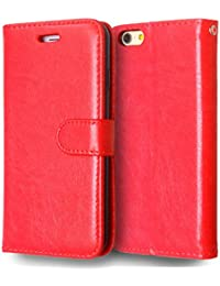 SDDM Etui en cuir PU Solide Couleur Wallet Support Housse en silicone pour 6s iPhone6 (Color : Red, Size : IPhone 6 6S)