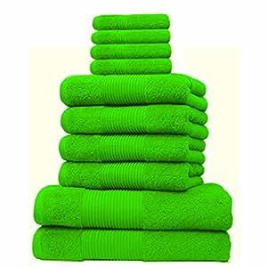 Liness 10 tlg Handtuch-Set 4 Handtücher 50x100 cm 2 Duschtücher Badetücher 70x140 cm 4 Waschhandschuhe 16x21 cm 100% Baumwolle grün