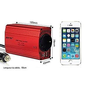 BESTEK KFZ 300W Wechselrichter 12V auf 230V mit 2 USB Anschlüsse und Zigarettenanzünder Stecker, Eurosteckdose by BESTEK GLOBAL LTD