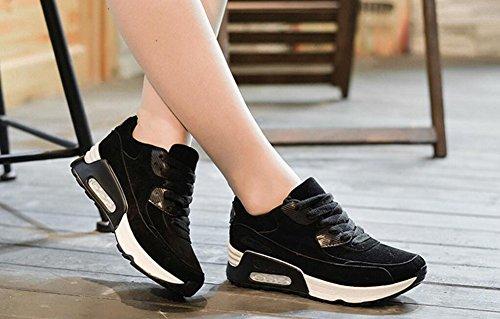 Wealsex Chaussures de Course Running Compétition Sport Entraînement Multisport Outdoor Femme Noir