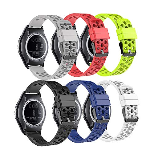 Fit-power 20 mm Smart Watch Bands Ersatz-Uhrenarmband für Samsung Gear Sport/Samsung Gear S2 Classic/Huawei Watch 2 Watch/Garmin Vivoactive 3/Garmin Vivomove HR, Breathable 6Colors