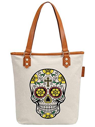 S.CHU Women's Skull Floral Canvas Leather Tote Handbag Ladies Shoulder Bag Beige