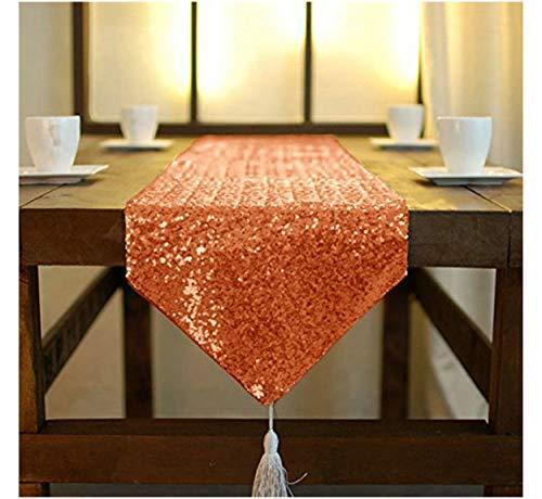 -inch-color-sequin Tischläufer mit Quaste für Esstisch decoration-sequin Kommode Schals für Hochzeit Event, Polyester-Mischgewebe, Orange, 12x72Inch ()