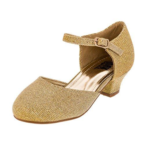 Max Shoes Festliche Mädchen Glitzer Ballerina Pumps mit Absatz M392go Gold 28