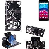 K-S-Trade Schutzhülle Archos Core 57S Hülle 360° Wallet Case Schutz Hülle ''Flowers'' Smartphone Flip Cover Flipstyle Tasche Handyhülle schwarz-weiß 1x