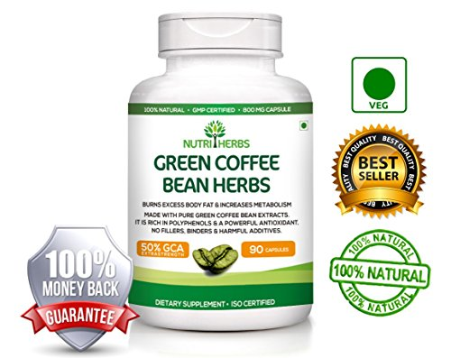 Nutriherbs Pure Green Coffee Bean Extract 800mg (50% GCA) 90 Capsules 100% Natural & Weight loss supplement with100% Lifetime Money Back Guarantee  available at amazon for Rs.3596