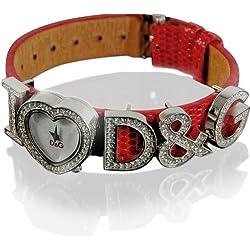 DOLCE GABBANA Armbanduhr I LOVE D&G Damen Uhr Markenuhr Lederuhr Rot 3719251684