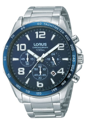 Lorus Sport RT353CX9 - Reloj analógico de cuarzo para hombre, correa de acero inoxidable color plateado (cronómetro, agujas luminiscentes, cifras luminiscentes)