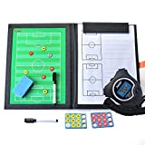 BizoeRade Taktiktafel Fußball Coach Board mit Stift, Radiergummi, Magnet, Digitale Großem LCD-Display Stoppuhr