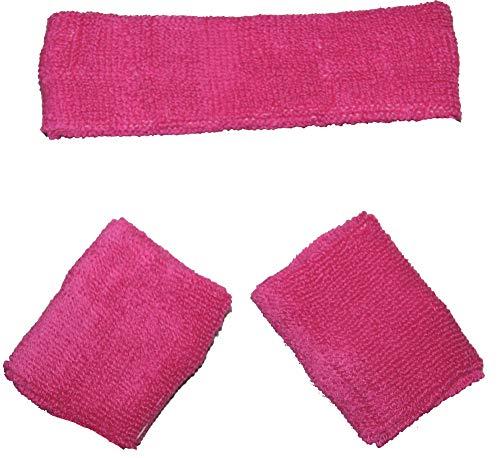 Sport 80's Kostüm Stars - Foxxeo pinkes Schweißbänder Set 80er Jahre Stirnband und 2 Armbänder Party pink rosa Fasching Karneval