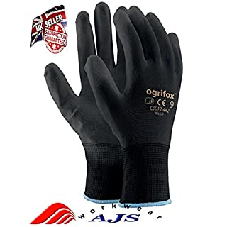 Pairs PU Coated Black Nylon Work Gloves. Gardening, Builders, Mechanic by AJS workwear LTD (24 Pairs- Size L(9))